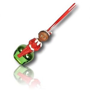 """Custom & Decorative {1.3"""" x 3"""" Inch} 1 Single, Mid-Size Hanging Ornament Made of Grade A+ Resin & Metal w/Shiny Metallic Festive Holiday Elf On Shelf Boy Jingle Bell Noise Toy Style {Multicolor}"""