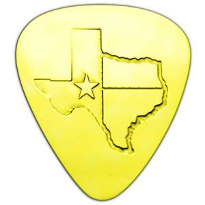 """Unique & Custom [0.38mm Thin Gauge - Traditional Style Semi Tip] Hard Luxury Guitar Pick Made of Genuine Solid Brass w/ Texas State Outline Flag Design """"Gold Yellow Colored"""" {Single Pick}"""