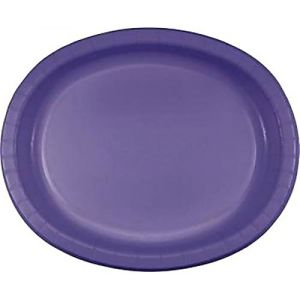 """Custom & Unique {10"""" x 12"""" Inch} 8 Count Multi-Pack Set of Big Extra Large Size Oval Disposable Paper Plates w/ Simple Modern Plain Natural Basic """" Lavender Purple Colored"""""""