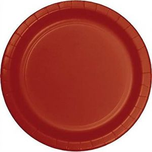 """Custom & Unique {10"""" Inch} 24 Count Multi-Pack Set of Large Size Round Circle Disposable Paper Plates w/ Single Colored Basic Plain Simple Festive Holiday Celebration Party """"Crimson Red Colored"""""""