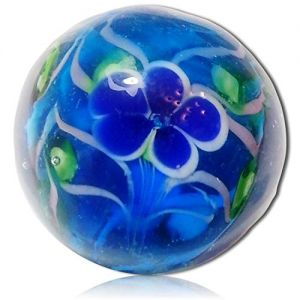 """Custom & Decorative {7/8"""" Inch} 1 Big-Size """"Round"""" Glass Marbles w/Beautifully Handmade Peony Flower Floral Translucent Transparent Slender Leaves Vines Style [Blue, White & Green] + Certificate"""