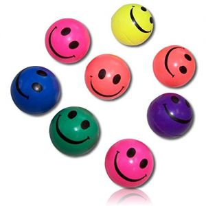 Custom & Unique {45mm} 12 Lot Pack, Mid-Size Super High Bouncy Balls, Made of Grade A+ Rebound Rubber w/ Bright Neon Abstract Rainbow Colorful Happy Smiling Expression Emoji Face Style (Multicolor)