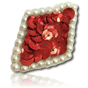 """Beautiful & Custom {2"""" Inch} 1 of [Sew-On & Glue-On] Embroidered Applique Patch Made of Sequins & Beads w/Delightful & Engaging Basic Diamond Shape w/Pretty Pearlescent Pearl Border Style {Red}"""