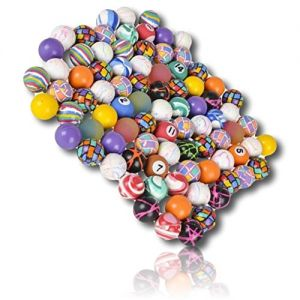 Custom & Unique {27mm} 10 Lot Pack, Mid-Size Super High Bouncy Balls, Made of Grade A+ Rebound Rubber w/ Pool Ball Style Checkered Plaid Lined dashed wrinkled Striped Marbled Swhirled (Multicolor)