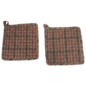 """Custom & Durable {8.5"""" x 8.5"""" Inch} 2 Set Pack, Mid Size """"Non-Slip"""" Pot Holders Made of Cotton for Carrying Hot Dishes w/ Rustic Quilted Spiced Plaid Style [Black, Red, Green, & Yellow]"""