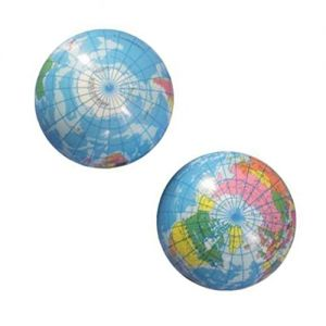 Custom & Unique {102mm} 1 Dozen, Mid-Size Super High Bouncy Balls, Made of Grade A+ Rebound Rubber w/ Globe World Planet Earth Lined Barred Striped Clouded Continents Space Ocean (Multicolor)