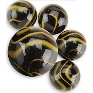 "Unique & Custom {5/8"" Inch} Set Of 25 ""Round"" Opaque Marbles Made of Glass for Filling Vases, Games & Decor w/ Elegant Dark Swirled Edgy Artistic Design [Black & Yellow Colors] w/ 1 Shooter"