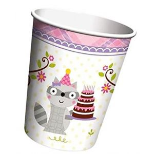Durable & Non-Toxic {9 Ounce} 8 Count of Recyclable Mid-Size Disposable Cups, Made of Paper w/ Plain Solid Opaque Classic Simple Happy Birthday Raccoon Critters Style {Purple, Black & White}