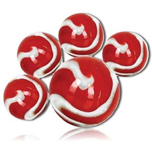 "Custom & Decorative {5/8"" & 1"" Inch} 25 Mid to Big-Size ""Round"" Glass Marbles w/Unique Cool Shiny Bright Fire Fighter Design Swirl All Around Shooter Style [White & Red] w/ 1 Shooter + Certificate"