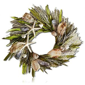 """Custom & Unique (22"""" Inches) 1 Single Large Size Decorative Holiday Wreath for Door, Made of Natural Plants w/ Preserved Palm Fronds Seashells Ocean Life Star Fish Oyster (Green, White, Brown & Black)"""