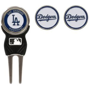 Team Golf MLB Los Angeles Dodgers Divot Tool with 3 Golf Ball Markers Pack, Markers are Removable Magnetic Double-Sided Enamel