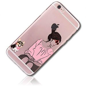 mySimple Custom Made FLEX-Gel Silicone Fitted Case for Apple iPhone 7 PLUS w/ Soft Flexible Shock Absorbing Bumper Guard Edge & Sunglassed Girl w/ Chaweenie Dog Sitting {Pink, Black, White, Brown}