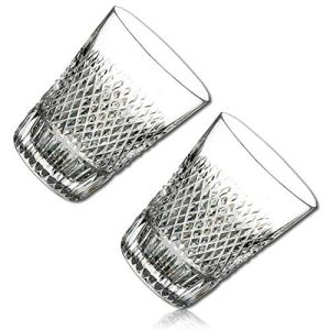 """DROP-RESISTANT & Durable {2.3"""" x 3"""" Inch / 3 oz} 2 Pack Of Mid-Size """"Heavy Base"""" Fluted Shot Glass for Drinking, Made of Genuine Hand Blown Crystal Brilliant Diamond Decorative Etching Design {Clear}"""