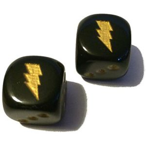Custom & Unique {Standard medium 16mm} 2 Ct Pack Set of 6 Sided [D6] Square Cube Playing & Game Dice w/ Rounded Corner Edges w/ Simple Gloss Electric Lightning Bolt Design [Black & Gold]