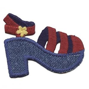 """[Single Count] Custom and Unique (2"""" x 2-1/2"""" Inch) Fashionable Cute High Rise Buckled Heals Iron On Embroidered Applique Patch {Blue, Red, yellow & Purple Colored}"""