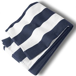 """Custom & Luxurious {35"""" x 62"""" Inch} 1 Single Large & Thin Soft Summer Beach & Bath Towel Made of Quick-Dry Cotton w/ Simple Classic Preppy Travel Sailor Stripped Cabana Nautica Style [Navy & White]"""