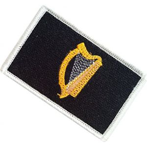 "[Single Count] Custom, Cool & Awesome {1.9"" x 3.15"" Inches} Small Rectangle Irish Ireland Harp Flag of Leinster Tactical Style Design (Military Type) Velcro Patch ""Black, Gold & White"""