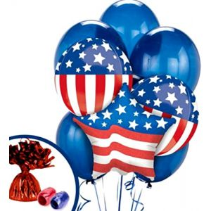 Custom, Fun & Cool Pack of Helium & Air Inflatable Mylar/Latex Balloons w/ Patriotic Veteran Vet US Flag USA Army Soldier Design [in Red, White & Blue] w/ Ribbon & Weight