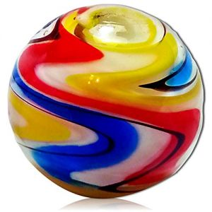 """Custom & Decorative {1"""" Inch} 1 Big-Size """"Round"""" Glass Marbles w/Beautifully Handmade Carnival Primary Colors Classic Basic Bright Light Neon Swirls Swirly Style [Red, Yellow & Blue] + Certificate"""