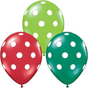 "Custom, Fun & Cool {Medium Size 11"" Inch} 12 Pack of Helium & Air Inflatable Latex Rubber Balloons w/ Vibrant Festive Seasonal Polka Dot Pattern Design [Variety Assorted Multicolor in Red & Green]"