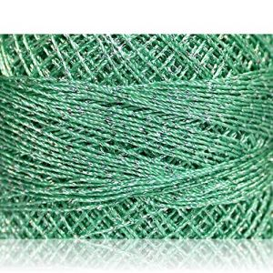 """Fabulous Crafts {2070 Total Yards / 200g} 10 Cakes Pack of Durable"""" Size 0 Lace Weight Fingering"""" Yarn for Knitting, Crochet & More, Made of 70% Polyester & 30% Lurex w/Dew St {Silver & Mint Green}"""