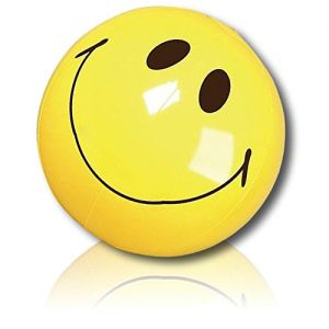 """ULTRA Durable & Custom {16"""" Inch} 12 Bulk Pack of Mid-Size Inflatable Beach Balls for Summer Fun, Made of Lightweight FLEX-Resin Plastic w/ Happy Smiling Expressive Emoji Face Style {Yellow & Black}"""