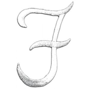 "[Single Count] Custom and Unique (1 3/4"" by 2"" Inches) ""Alphabet"" Letter F American Script Cursive Simple Elegant Whimsical Thin Font Style Iron On Embroidered Applique Patch {White Color}"