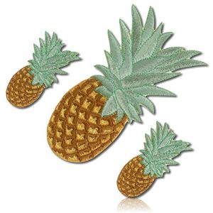 "[3 Count Set] Custom and Unique (3"" x 5 1/2"" Inch) ""Plant-Life"" Pineapple Fruit Eatable Sweet Juicy Spiky Rind Bush Tree Leafy Leaves Fronds Flesh Iron On Embroidered Applique Patch {Yellow & Green}"