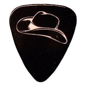Unique and Custom (.76 MM Thick) Medium Gauge Hard Plastic, Traditional Style Semi Tip Guitar Pick w/Western Cowboy Hat Country Guitarist Design {Black & White - 5 Picks Multipack}