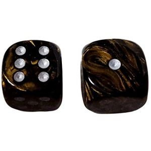 Custom & Unique {Large Size 20mm} 2 Ct Pack Set of 6 Sided [D6] Square Cube Shape Playing & Game Dice w/ Rounded Corner Edges w/ Royal Stone Swirl Pearl Design Design [Gold, Black & White]