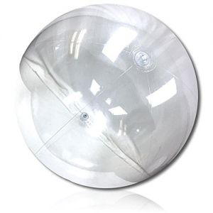 """ULTRA Durable & Custom {120"""" Inch} 1 Single of XXL Behemoth-Size Inflatable Beach Ball for Summer Fun, Made of Lightweight FLEX-Resin Plastic w/ Shiny Solid Plain Pure Translucent Glass Style {Clear}"""