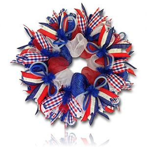 """Custom & Unique (26"""" Inches) 1 Single Large Size Decorative Holiday Wreath for Door w/ Mesh Ribbons Bows American Patriotism Day Fourth of July Stars & Stripes Theme Style Design (White, Red & Blue)"""