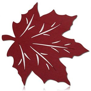 """Unique & Custom {18"""" Inch} Single Pack """"Smooth Texture"""" Large Reversible Table Placemats Made of Washable Genuine Flexible Polyester w/ Felted Festive Thanksgiving Autumn Fall Leaf Design [Maroon]"""