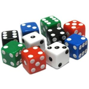 Custom & Unique {Assorted Small Size 8mm} 10 Ct Pack Set of 6 Sided [D6] Square Cube Shape Playing & Game Dice Made of Plastic w/ Rounded Corner Edges w/ Classic Design [Black, Blue, Green & Red]
