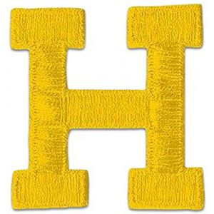"""[Single Count] Custom and Unique (2"""" Inch) Sports Letterman Jacket Alphabet Letter H Regular Bold Plain Solid Block Font Monogram Initial Design Iron On Embroidered Applique Patch {Yellow Color}"""