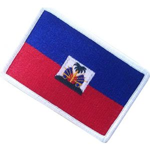 """[Single Count] Custom, Cool & Awesome {2.15"""" x 3.4"""" Inches} Small Rectangle Republic of Haiti Haitian Flag National Coast of Arms Design (Military Type) Velcro Patch """"Blue, Red, White & Gold"""""""
