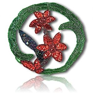 "Beautiful & Custom {5.5"" Inch} 1 of [Sew-On & Glue-On] Embroidered Applique Patch Made of Beads & Sequins w/Beautiful Duo of Poinsetta Flowers in Center w/Cool Rounded Cucumber Style {Multicolored}"