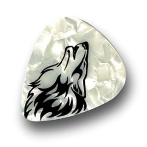 Unique and Custom (.76 MM Thick) Medium Gauge Hard Plastic, Traditional Style Semi Tip Guitar Pick w/Pearly Tribal Howling Wolf Inked Design {White & Black - 12 Picks Dozen Bulk Multipack}