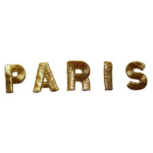 """[5 Count Set] Custom and Unique (3-1/4""""x7/8"""" Inches) PARIS Letters Word City Bold Capital Font Iron On Embroidered Applique Patch {Gold Color}"""