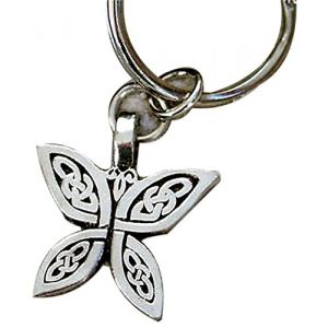 """Unique & Custom 1 Single Medium Size """"Split"""" Circle Keychain Ring Made of Pewter w/ Celtic Knot Irish Butterfly Style Charm Made of Metal {Silver Color}"""