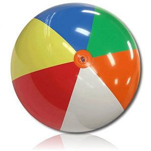 """ULTRA Durable & Custom {8"""" Inch} 1 Single of XXLarge-Size Inflatable Beach Ball for Summer Fun, Made of Lightweight FLEX-Resin Plastic w/ Retro Thick Alternating Solid Wedge Stripes Style {Multicolor}"""