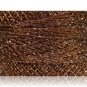 """Fabulous Crafts {2070 Total Yards / 200g} 10 Cakes Pack of Durable"""" Size 0 Lace Weight Fingering"""" Yarn for Knitting, Crochet & More, Made of 70% Polyester & 30% Lurex w/Rust Shine {Silver & Copper}"""