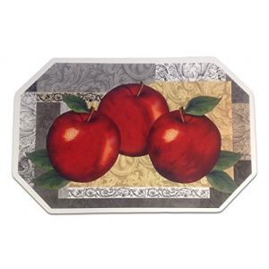"""Unique & Custom {12"""" x 18"""" Inch} Set Pack of 4 Octagon """"Flat & Smooth Texture"""" Large Table Placemats Made of Flexible Vinyl w/Kitchen Apples Fancy Decorative Pattern Design [Colorful Red, Gray & Tan]"""