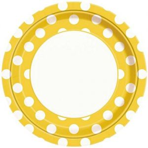 "Custom & Unique {9"" Inch} 8 Count Multi-Pack Set of Medium Size Circular Round Paper Plates w/ Polka Dotted Dot Spotted Springtime Party ""Yellow & White Colored"""