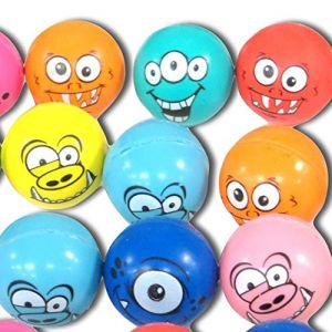 Custom & Unique {25mm} 20 Lot Pack, Mid-Size Super High Bouncy Balls, Made of Grade A+ Rebound Rubber w/ Party Prize Vibrant Pattern Neon Monster Facial Expressions Smiling Alien Style (Multicolor)