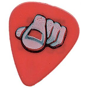 """Unique and Custom (.71 MM Thick) Medium Gauge Hard Plastic, Traditional Style """"Semi Tip"""" Guitar Pick w/ Awesome Edgy Vintage Hand Pointing w/ Index Finger Design {Red, Pink, & Black - One Single Pick}"""