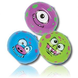 """ULTRA Durable & Custom {7"""" Inch} 48 Wholesale Pack of Small-Size Inflatable Beach Balls for Summer Fun, Made of Lightweight FLEX-Resin Plastic w/ Goofy Smiley Face Monsters Style {Blue, Green, Purple}"""