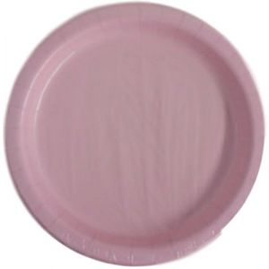 """Custom & Unique {7"""" Inch} 20 Count Multi-Pack Set of Small Size Round Disposable Paper Plates w/ Single Colored Elegant Girly Kids Party """"Light Pink Colored"""""""