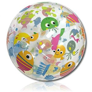 """ULTRA Durable & Custom {18"""" Inch} One Single Mid-Size Inflatable Beach Ball for Summer Fun, Made of Lightweight FLEX-Resin Plastic w/ Cartoon Smiling Sea Creatures Fish Octopus Style {Multicolor}"""