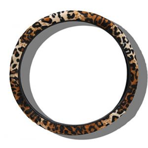 """Custom & Unique {Universal 14.5"""" to 15.5"""" Inch Fit} Smooth Grip """"Fitted"""" Vehicle Steering Wheel Protector Cover Made of Cloth with Jungle Leopard Animal Print Design {Brown & Black Color}"""